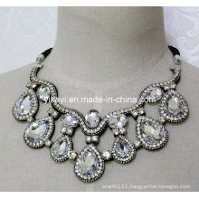 Lady Fashion Jewelry White Waterdrop Glass Crystal Pendant Necklace (JE0202)