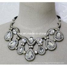 Леди модные ювелирные изделия Белый цветок стекло Кристалл Кулон ожерелье (JE0202)