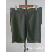 casual solid grey turn up leg mens shorts