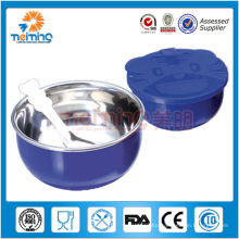 colorful stainless steel children rice bowl wil pp lid