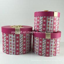 Ensembles de boîtes-cadeaux en papier rond imprimé sur mesure personnalisé avec ruban