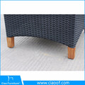 Outdoor garden furniture rattan dining table and chairs with teak wood arm