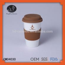 Taza del té, taza de cerámica con el logotipo, taza de cerámica blanca estupenda de la pared doble de 12oz
