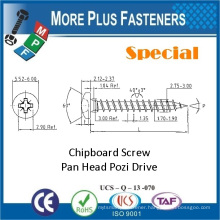 Made in Taiwan Carbon Steel Pan Head Pozi Drive New Premium Custom Special Chipboard Screw
