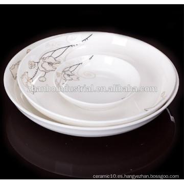 Plato de cena de la porcelana de la alta calidad