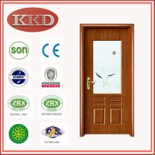 Артистический стекло вставляется стальной деревянные двери JKD-2079 для использования интерьер кухни