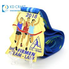 Design metal zinc alloy gold plate winner award medals custom large running enamel logo fun run finisher medal with lanyard