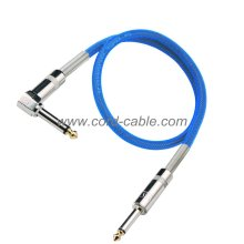 DML Series Instrument Guitar Cable Jack 90° to Jack Blue Nylon Jacket