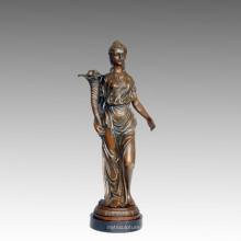 Weibliche Kunst Figur Bronze Garten Skulptur Blume Lady Messing Statue TPE-549/550