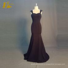 ЭД Свадебные элегантный реальный образец Cap рукавом молнии вернуться черный двусторонний стрейч Вечерние платья 2017
