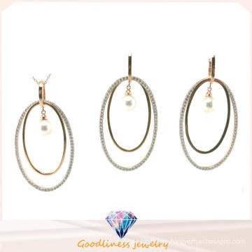 La joyería AAA CZ de la manera de la mujer al por mayor y la plata de la perla 925 fijaron (S3320)