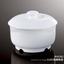 Estilo japonés sano blanco tazón de fuente de sopa duradero especial con la cubierta
