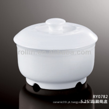 Boa qualidade tigelas de sopa de cerâmica branca chinesa com tampas