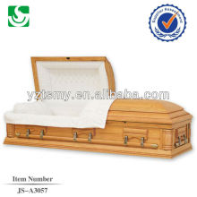 Cheap lacquered white velvet solid wood casket hardware