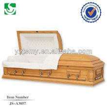 Ferragem de caixão de madeira sólida de veludo branco lacado barato