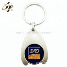 Diseño personalizado al por mayor su propio titular de metal de compras de fichas carro de anillo de llave de moneda