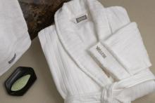 100% algodón de lujo cinco estrellas albornoz de terciopelo hotel