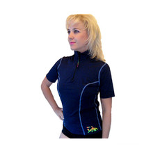 Women Rashguards with Zip in Navy