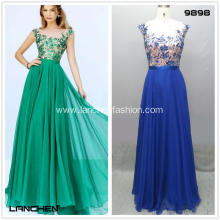 Elegant Floor Length Cap Sleeve Prom Dresses