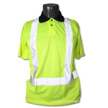 Reflektierendes Streifen gestricktes Polyester-Sicherheits-Polo-T-Shirt mit hoher Sichtbarkeit (YKY2819)