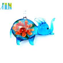 mode clair bleu mini éléphant en pendentif en verre fleur