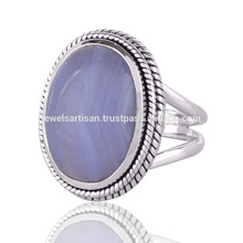 Lovely Blue Lace Agate Gemstone 925 Sterling Silver Ring