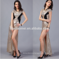 office lady 28MM women gold sequined gown women evening party dress