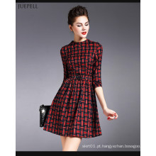 2016 lindamente vestido xadrez moda design para as mulheres