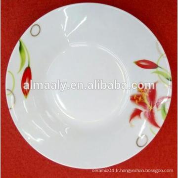 Vente en gros de la plaque en porcelaine blanche