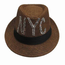Fashion Straw Fedora Hat with Sequins Logo for Men