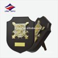 Metal logo carving wooden shield award plaque