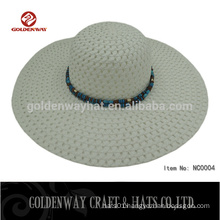 pretty natural paper straw lady hats large wide brim hat with wooden beads decoration top selling