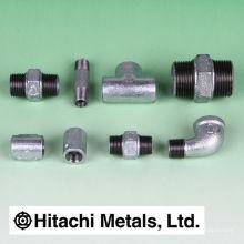 Acessórios de tubulação de ferro maleável preto e galvanizado, de uso geral. Fabricado por Hitachi Metals. Feito no Japão