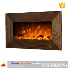 Электрический камин на деревянной стене