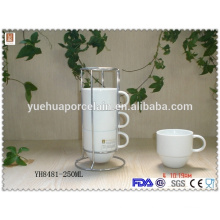 Eco-friendly super white porcelain tea cup with steel rack