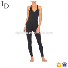 Strappy body one-pieces yoga wear black sexy sport bodycon wear