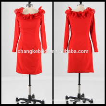 Real Pictures long sleeve short formal cocktail dress red cocktail dress rolled-up neck Prom Dress