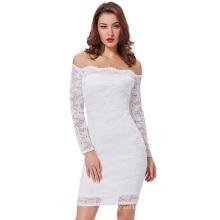 Kate Kasin Sexy mujeres de hombro de encaje floral blanco caderas-Wrapped Bodycon vestido de verano lápiz KK000497-2