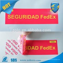 Tipo de etiqueta adhesiva y característica anti-falsificación sello de la línea aérea, etiquetas de seguridad y cinta para el embalaje