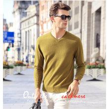 Men′s Cashmere Sweater V Neck 16brdm006-3
