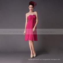 Vestido corto sin tirantes en línea tradicional gasa de dama de honor