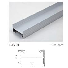 Pista de alumínio para guarda-roupa em prata anodizada