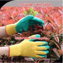 SRSAFETY preiswerter Preis / 10g Polycotton Liner beschichtete grüne Latexhandschuhe / Handhandschuhe