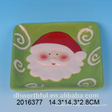 Plato de queso cuadrado de cerámica de santa de Navidad