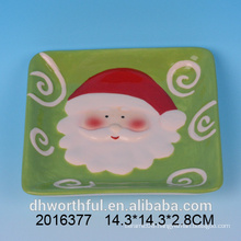 Christmas ceramic santa painting square cheese plate
