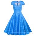 Belle Poque mujeres ahuecado vestido de manga corta azul Pequeño punto blanco vestido de algodón retro vintage BP000008-12