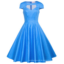 Belle Poque Frauen Hollowed Kurzarm Blaues Kleid Kleine White Dot Retro Vintage Baumwollkleid BP000008-12