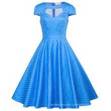 Белль вы можете остановить поиски, женщин hollowed коротким рукавом синий платье маленький Белый горошек Ретро старинные хлопок платье BP000008-12
