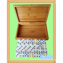 Double 6 colorful paint domino with bamboo box