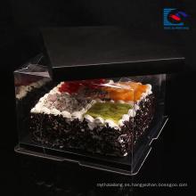 Caja de torta de papel de arte negro tamaño personalizado de lujo con mango